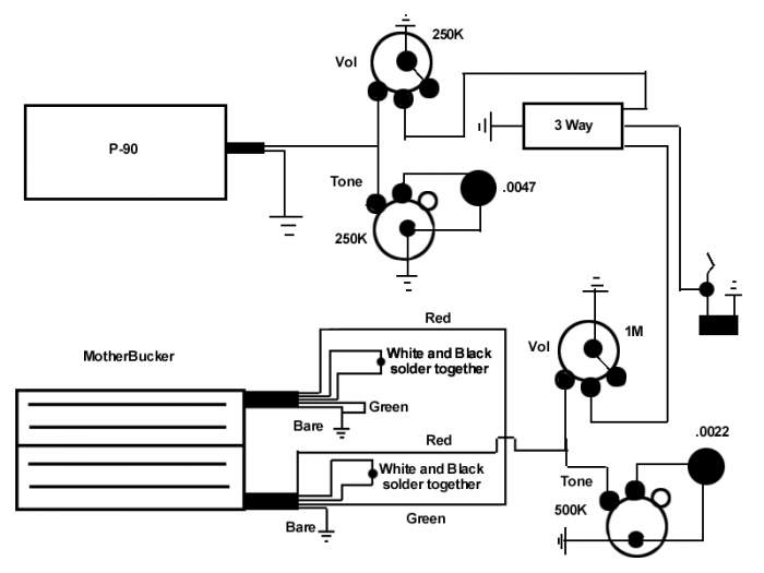 Humbucker Wiring Diagram Af55 Art Humbucker Mounting