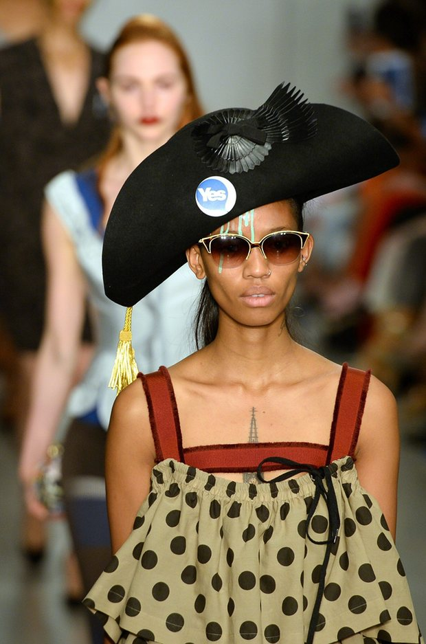 Model shows Vivienne Westwood's SS15 Red Label collection. (Photograph by Facundo Arrizabalaga/EPA 2)