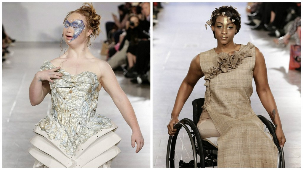 Madeline Stuart (Left) and Leslie Irby(right) at FTL Moda's Spring 2016 collection (Images by EPA)