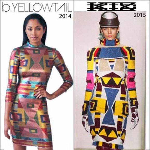 Looks Familiar?Bethany Yellowtail's design from her Crow Pop Collection (left) and KTZ design (right) (Image courtesy of Native Appropriation)