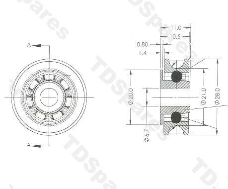 Sliding Door Wheel Kit, Comprises Of Two Nylon Wheels With