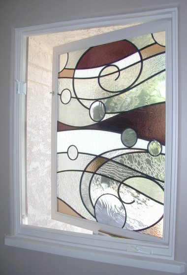 Abstract Ocean Wave Stained Glass
