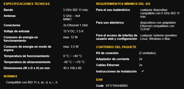 Especificaciones del kit 1700 Duo de Strong