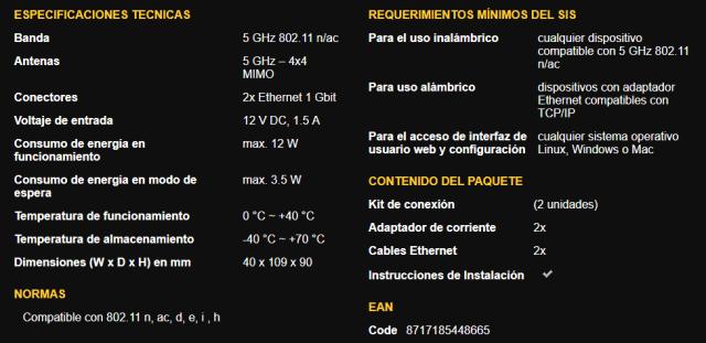 Especificaciones del kit 1700 Duo de Strong