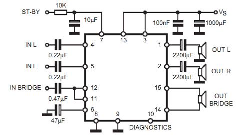 Circuito amplificador de áudio dinâmico com CI TDA7375
