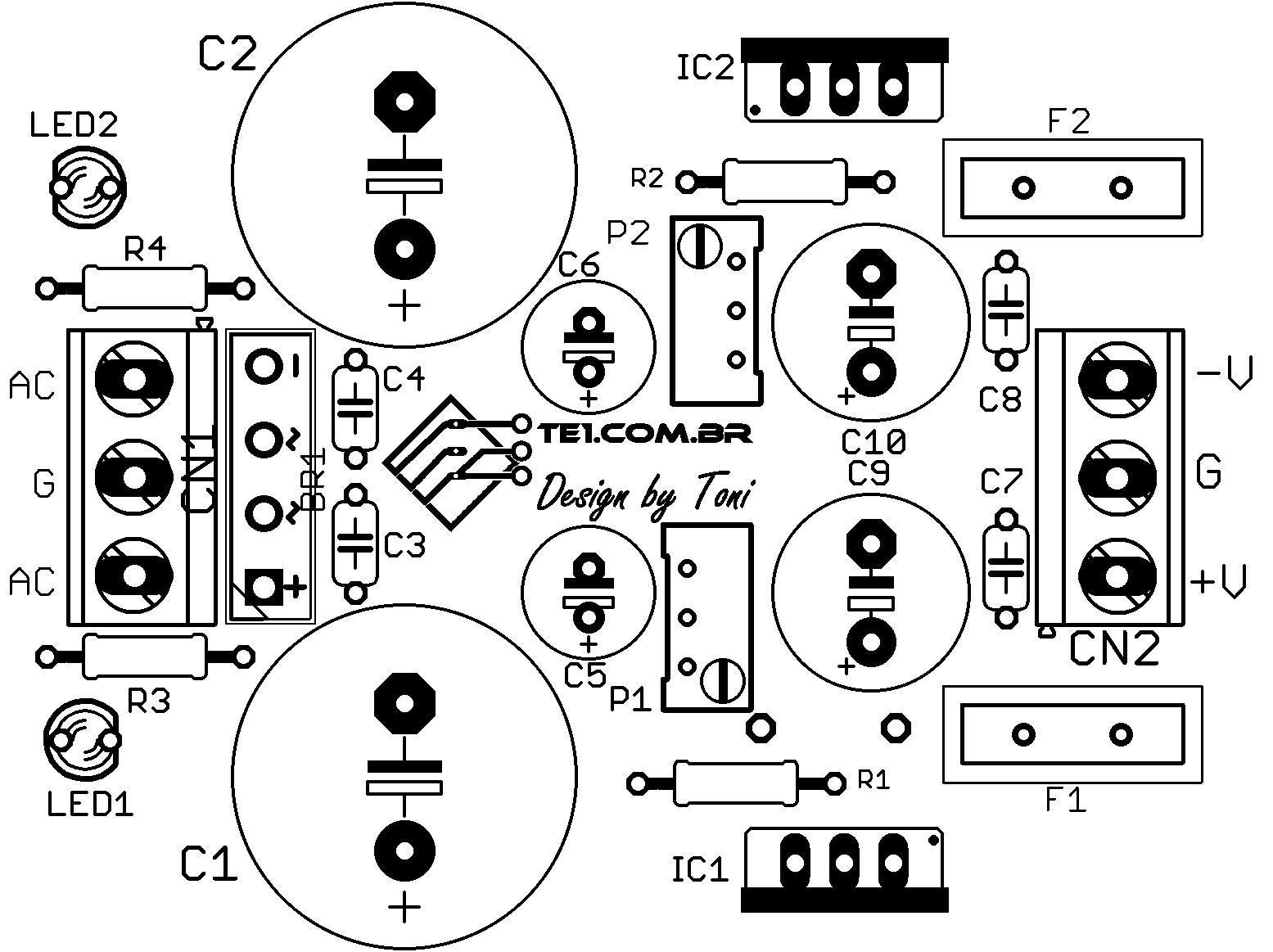 Circuito De Fonte Simetrica Ajustavel Com Lm317 E Lm337
