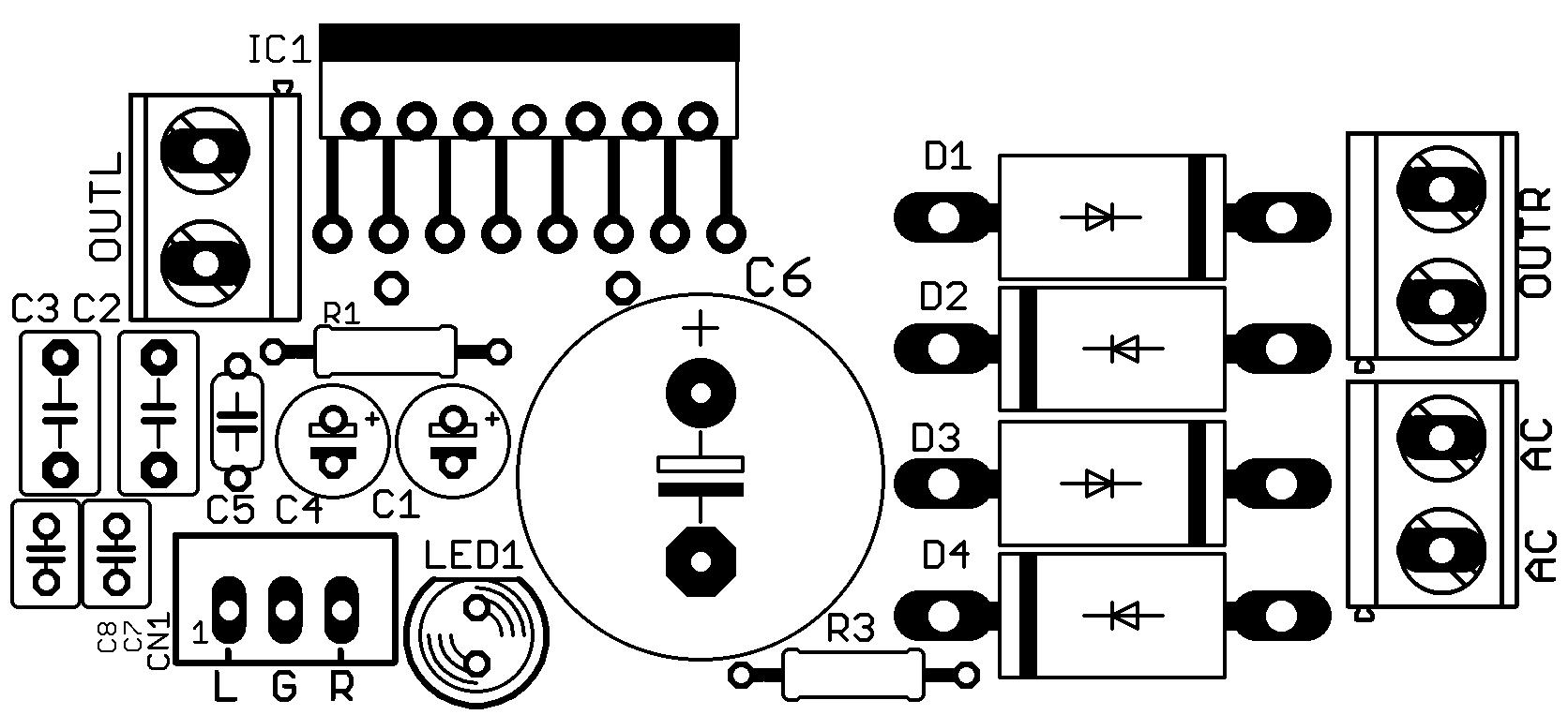 Circuito de amplificador potência com TDA7379 2 X 38 Watts