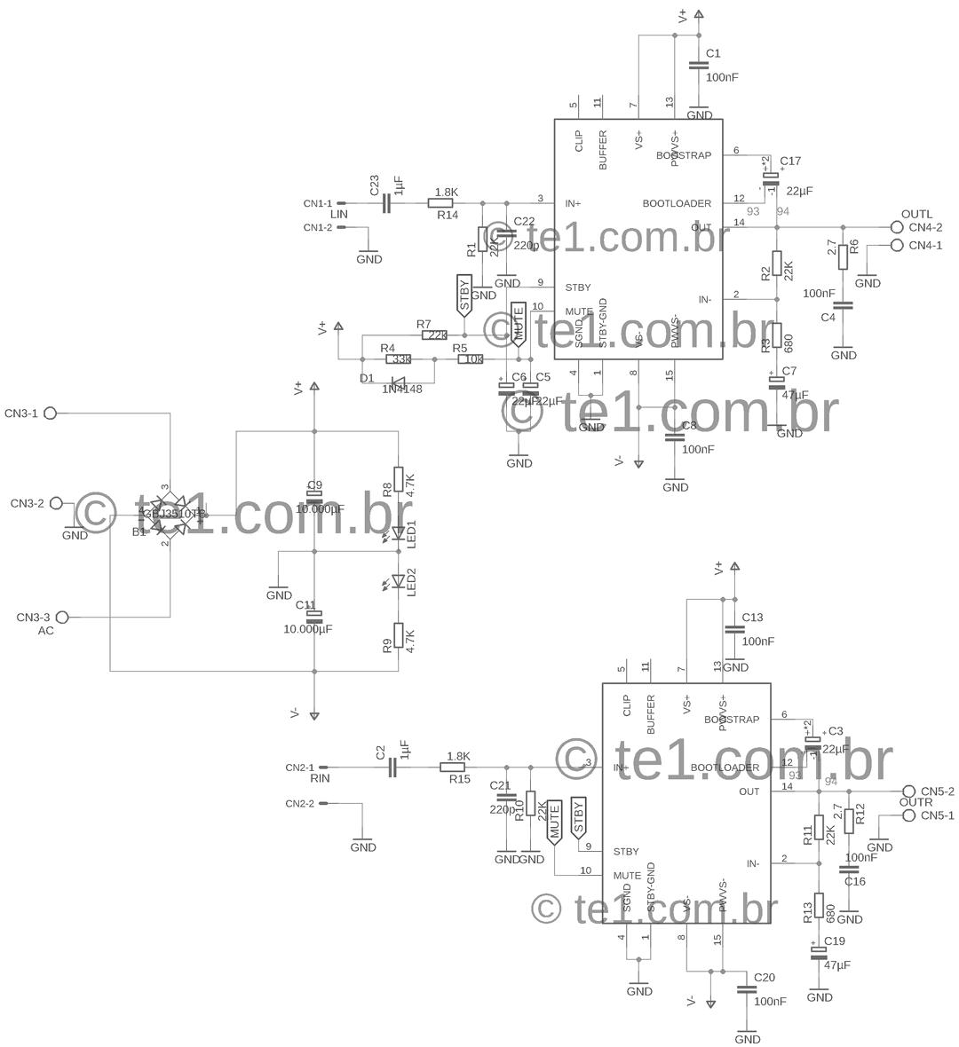 home power saver circuit diagram ge refrigerator schematic amplificador de potência estéreo ci tda7293 com fonte