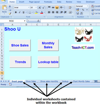 Teach-ICT AS Level ICT OCR exam board - spreadsheet terms, workbooks ...