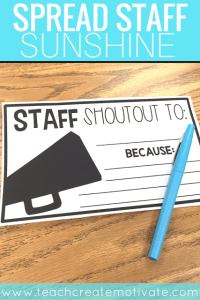 Staff Shout Outs: Spread School Sunshine!