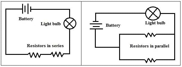 drawn light bulb switch battery resistor and circuit diagrams