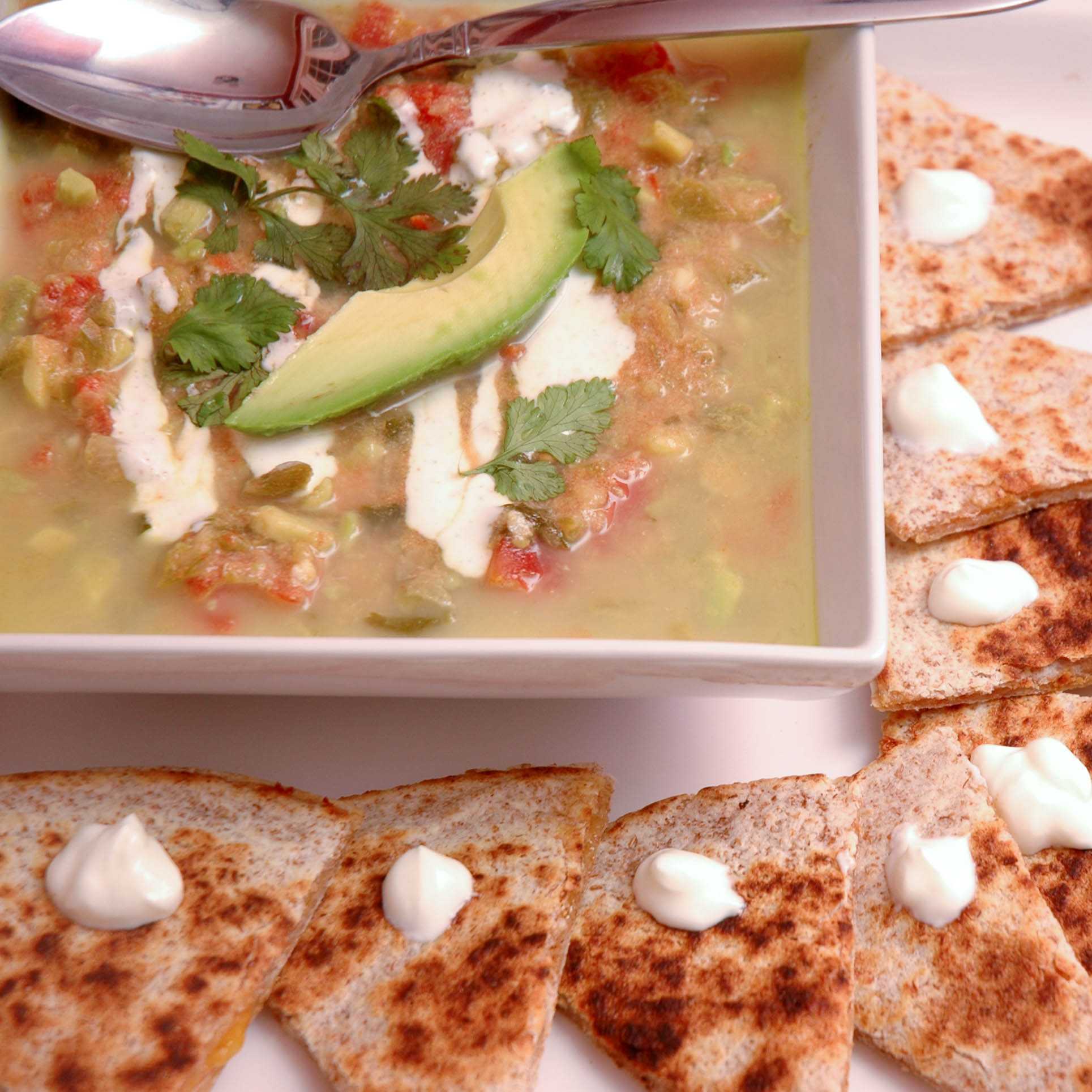 jalapeno soup with quesadillas