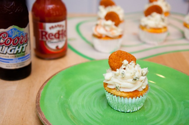 Super Bowl Hot Wing Cupcakes - Cornbread Cupcakes, Mashed Potato Frosting, & Buffalo Wing Topper