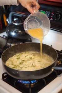 simply pour scrambled egg mixture to boiling soup