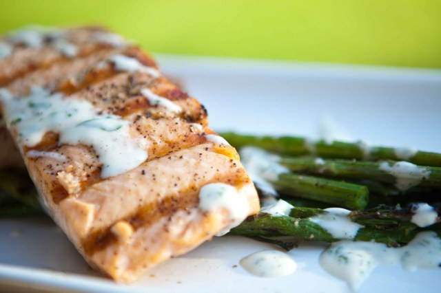 Grilled Salmon (& Asparagus) with a Lemon-Basil Mayo