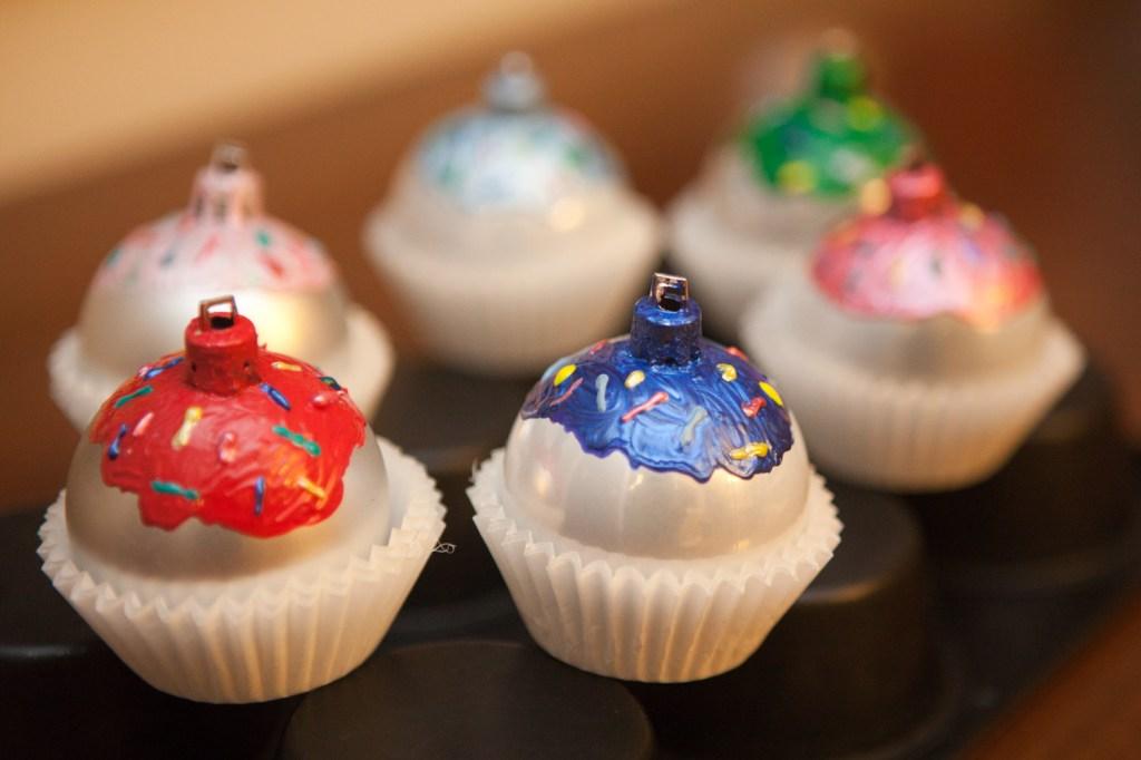 cupcke ornament balls for under a 5 dollars a dozen