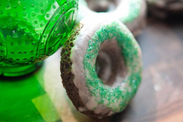 green chocolate donut
