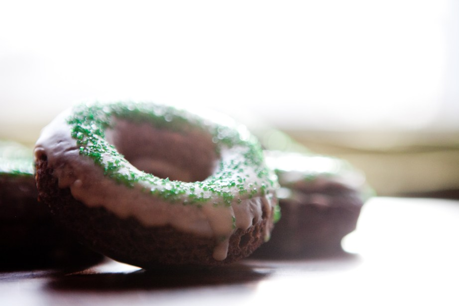 side view St. Patrick's Day Chocolate Donut