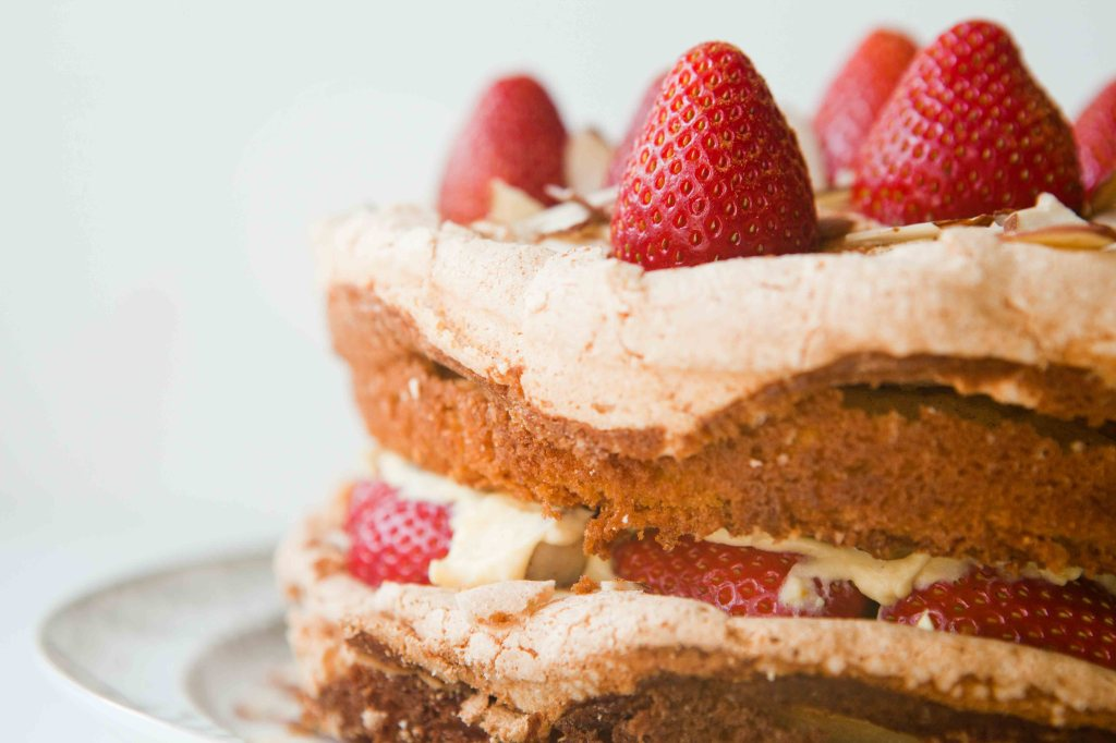 strawberry vanilla custard meringue layer cake - teacher-chef-4513