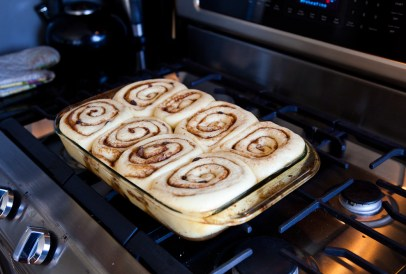 Sticky Bun in the Oven after rising| via teacher-chef.com 2014