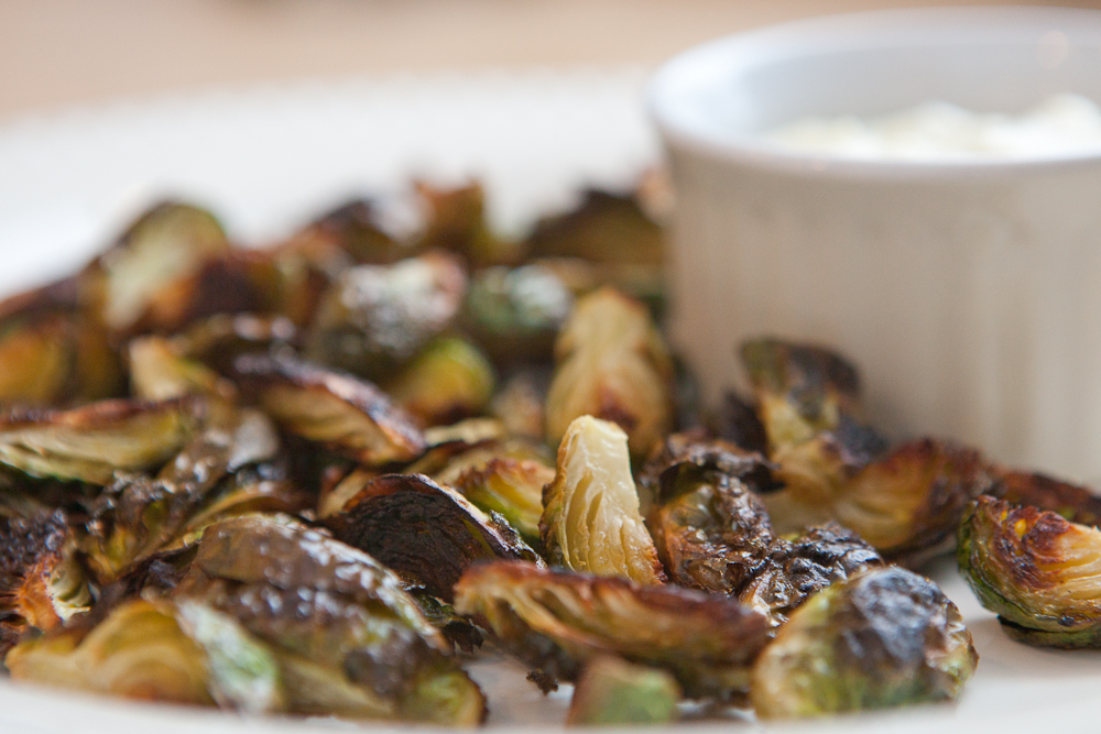 roasted brussels sprouts for dipping via teacher-chef.com