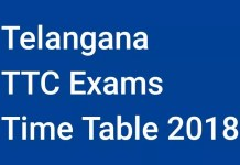 Telangana TTC Exams Time Table 2018