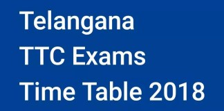 Telangana TTC Exams Time Table 2018