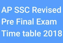 AP SSC Revised Pre Final Exam Time Table 2018