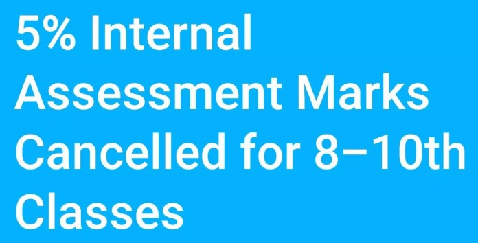 5% Internal Assessment Marks Cancelled for 8-10th Classes