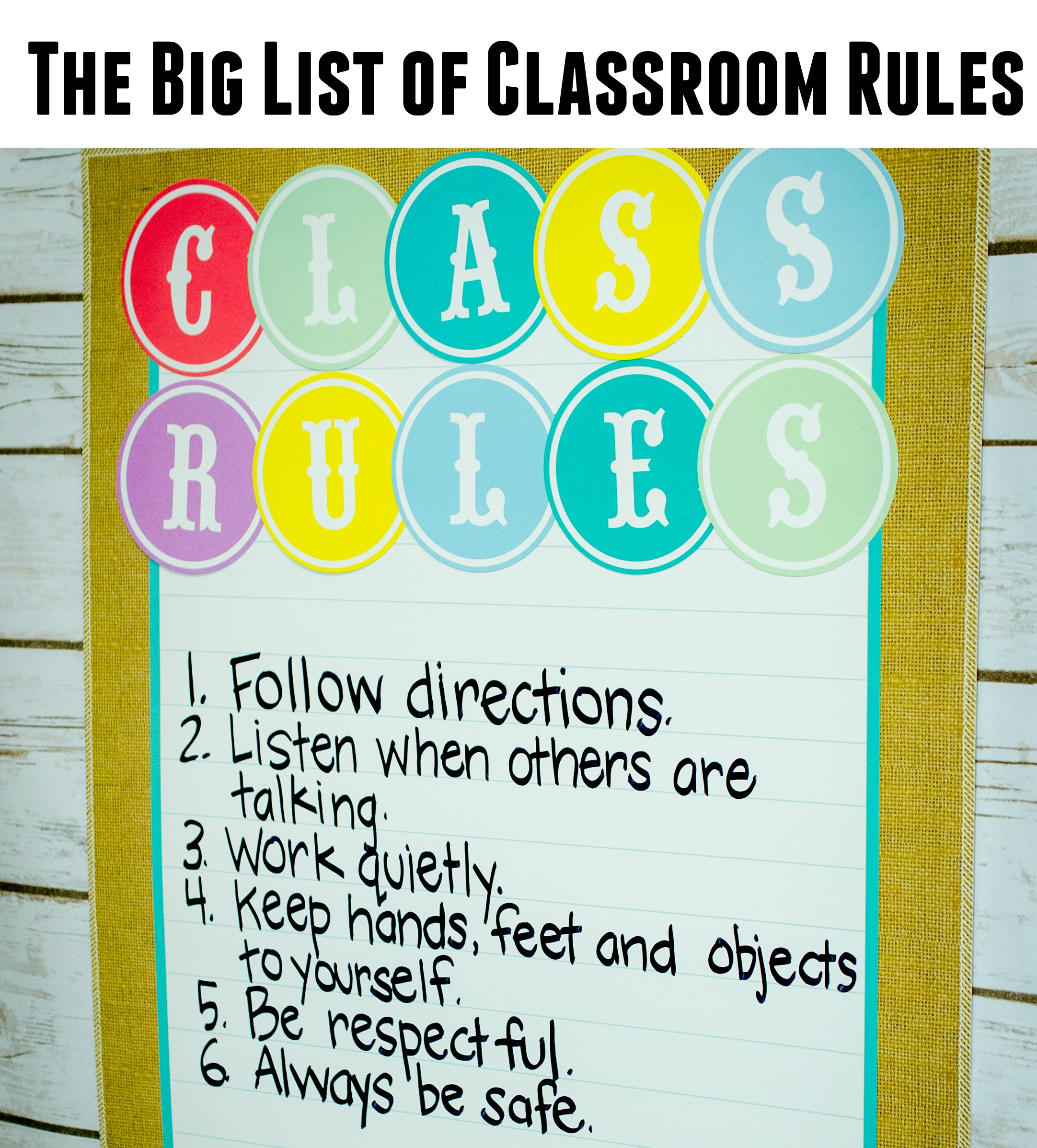 List Of Classroom Rules