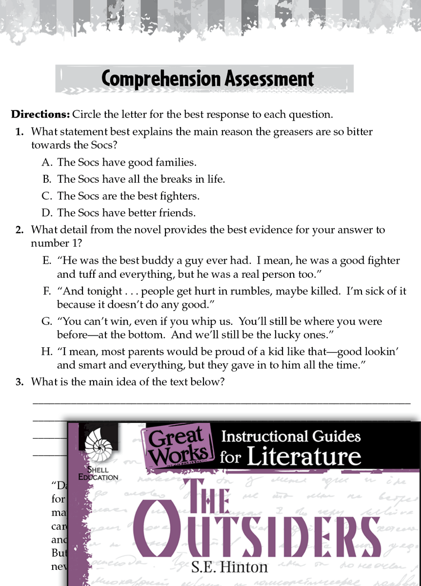 The Outsiders Comprehension Assessment Teachers
