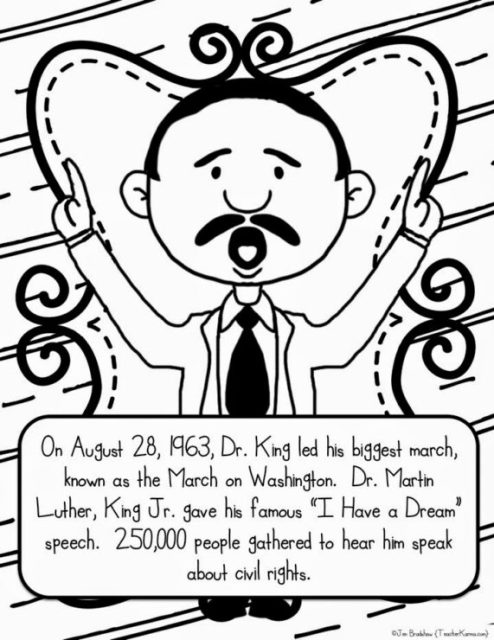 Martin Luther King, Jr. Coloring Page | Sermons4Kids | 640x494