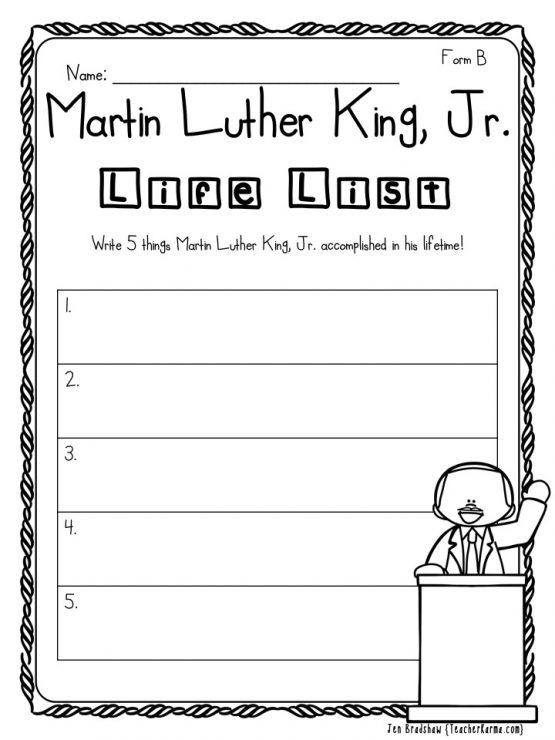 2 FREE Martin Luther King, Jr. Printables — Teacher KARMA