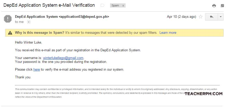 DepEd Online Application Email Verification NO UAN