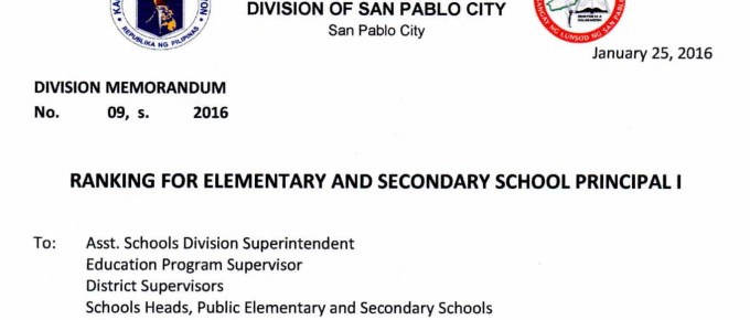 DepEd San Pablo City Ranking for Elementary and Secondary School Principal I