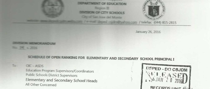 DepEd San Jose del Monte Schedule of Open Ranking for Elementary and Secondary School Principal I
