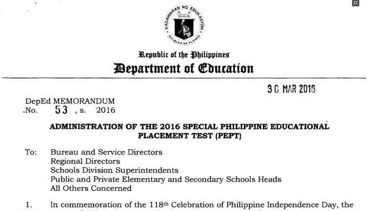 Administration of the 2016 Special Philippine Educational Placement Test (PEPT)