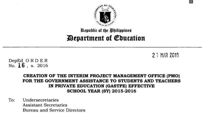 Creation of the Interim Project Management Office (PMO) for the Government Assistance to Students and Teachers in Private Education (GASTPE)