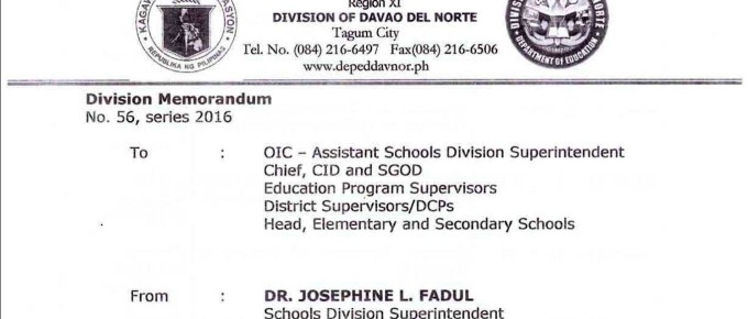 DepEd Davao del Norte 2016 Ranking of Teacher I Applicants