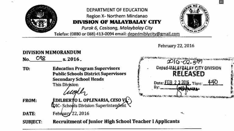 DepEd Malaybalay City Recruitment of Junior High School Teacher I Applicants