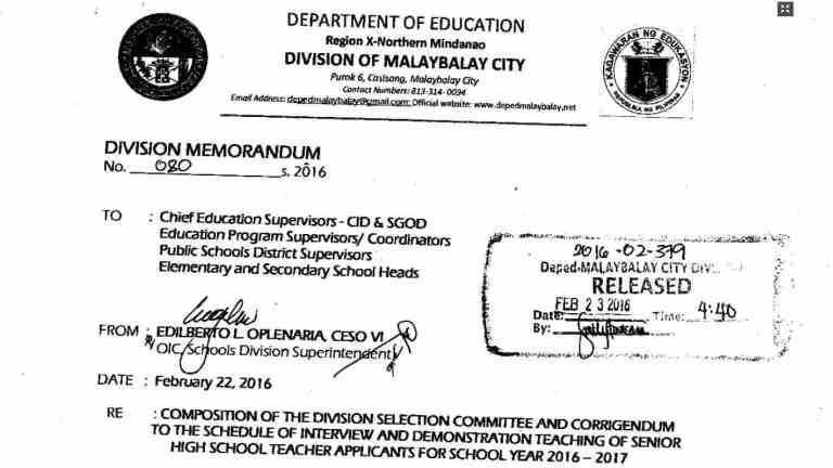 DepEd Malaybalay City Schedule of Interview and Demonstration Teaching of Senior High School Teacher Applicants