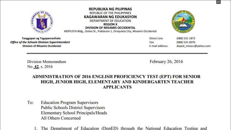 DepEd Misamis Occidental Administration of 2016 English Proficiency Test (EPT)