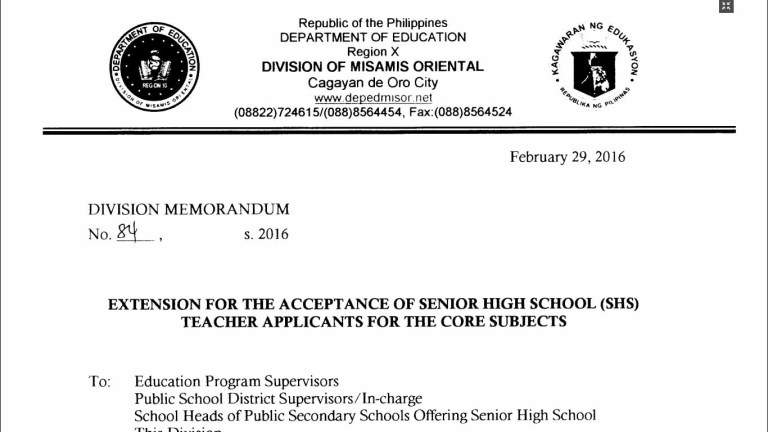 DepEd Misamis Oriental Recruitment of Senior High School Teacher Applicants