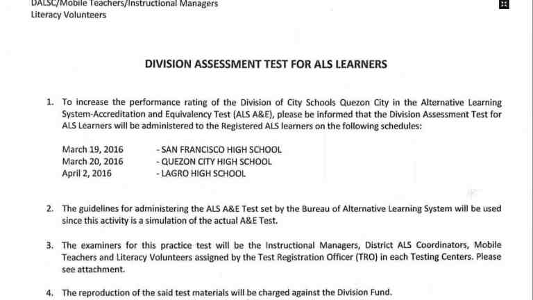 DepEd Quezon City Assessment Test for ALS Learners