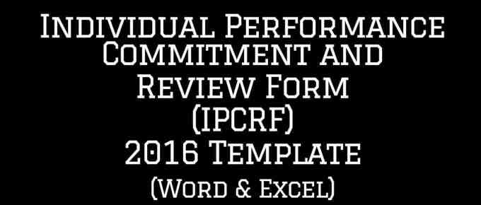 Individual Performance Commitment and Review Form (IPCRF) Template