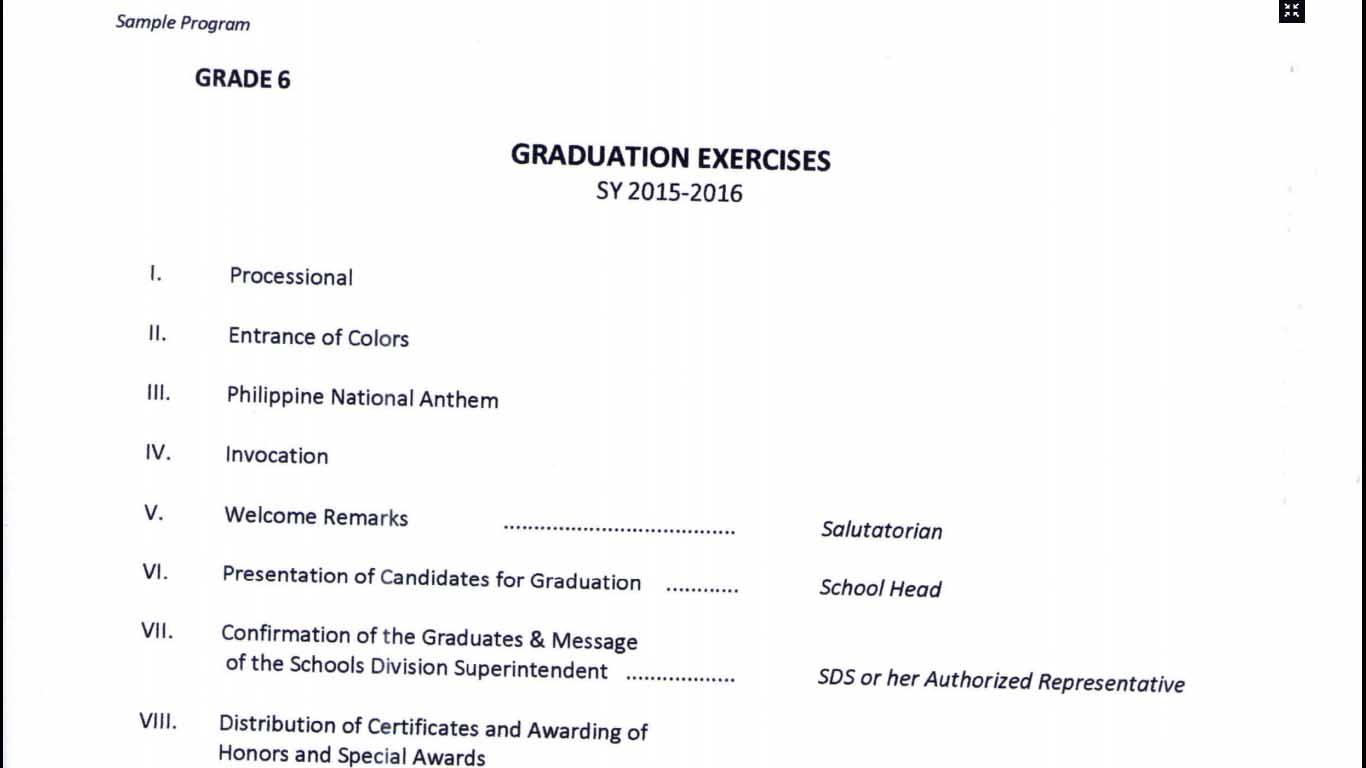 Sample Graduation Programs Ideal Vistalist Co