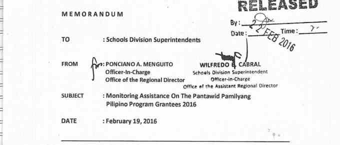 Unnumbered DepEd Memorandum Monitoring Assistance on the Pantawid Pamilyang Pilipino Program Grantees 2016