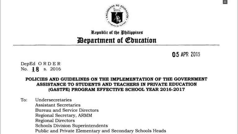 Policies and Guidelines on the Implementation of the Government Assistance to Students and Teachers in Private Education (GASTPE) Program Effective School Year 2016-2017