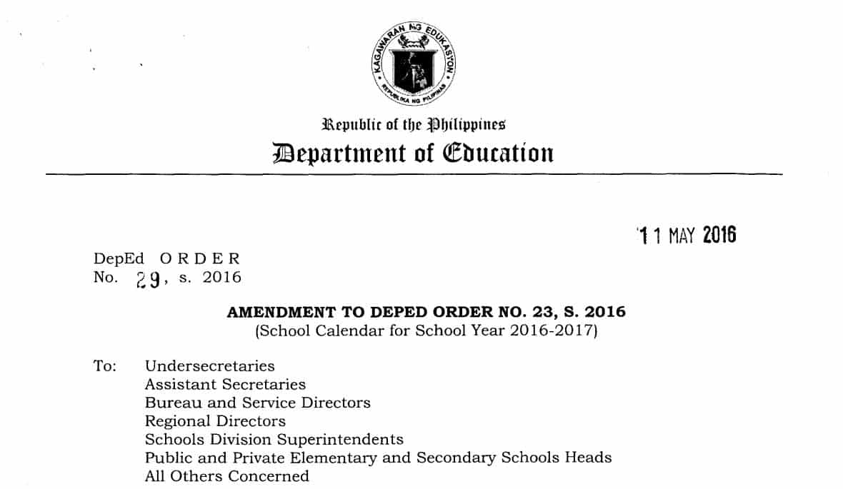 amendment to deped order no 23 s 2016 school calendar for school year 2016 2017 teacherph
