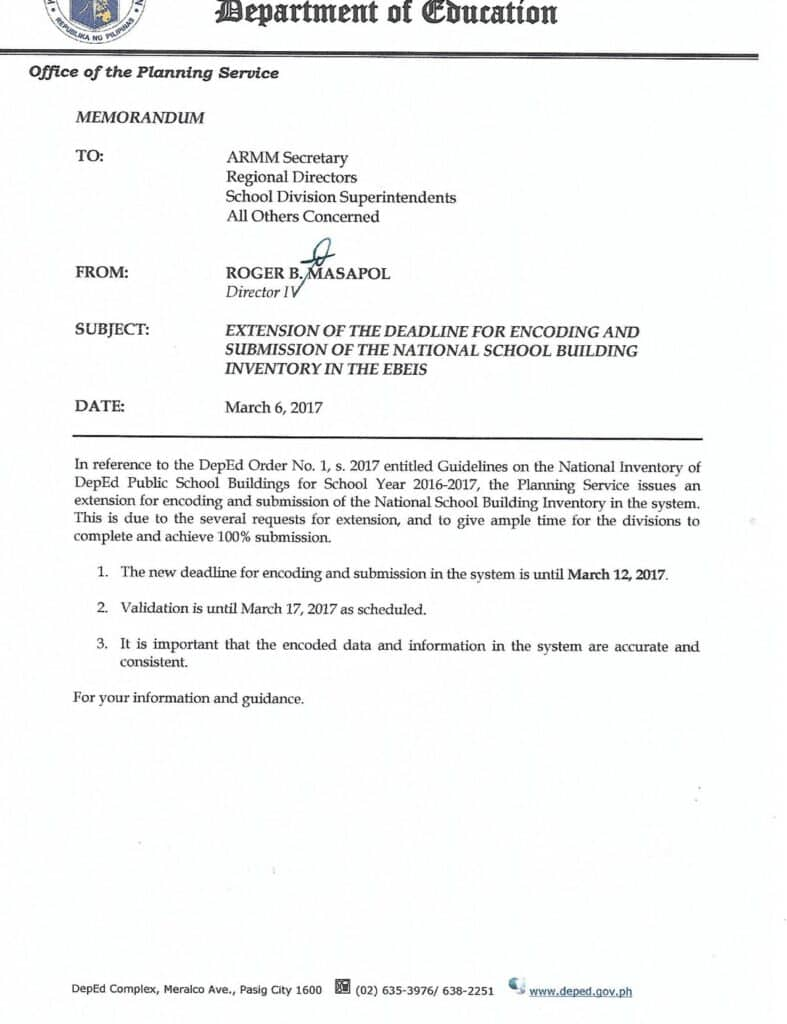DepEd Central Office Planning Service Memorandum